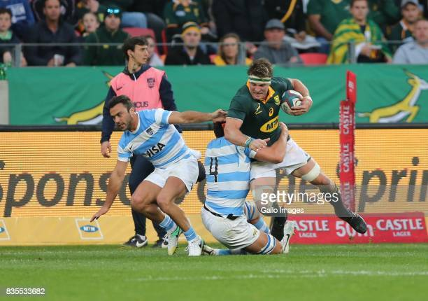 Ball carrier Jaco Kriel of South Africa during the Rugby Championship match between South Africa and Argentina at Nelson Mandela Bay Stadium on...