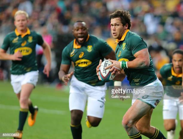 Ball carrier Jan Serfontein of South Africa during the Rugby Championship match between South Africa and Argentina at Nelson Mandela Bay Stadium on...