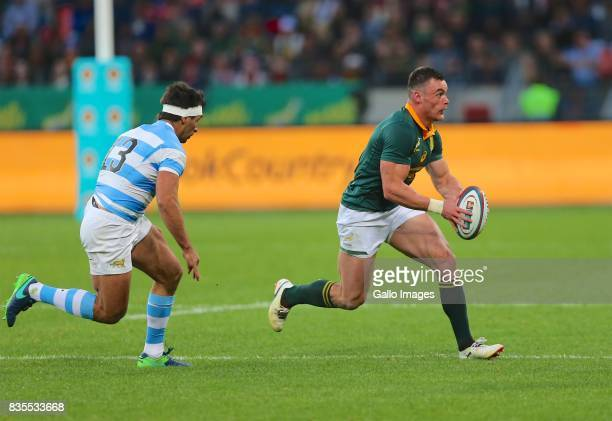 Ball carrier Jesse Kriel of South Africa during the Rugby Championship match between South Africa and Argentina at Nelson Mandela Bay Stadium on...