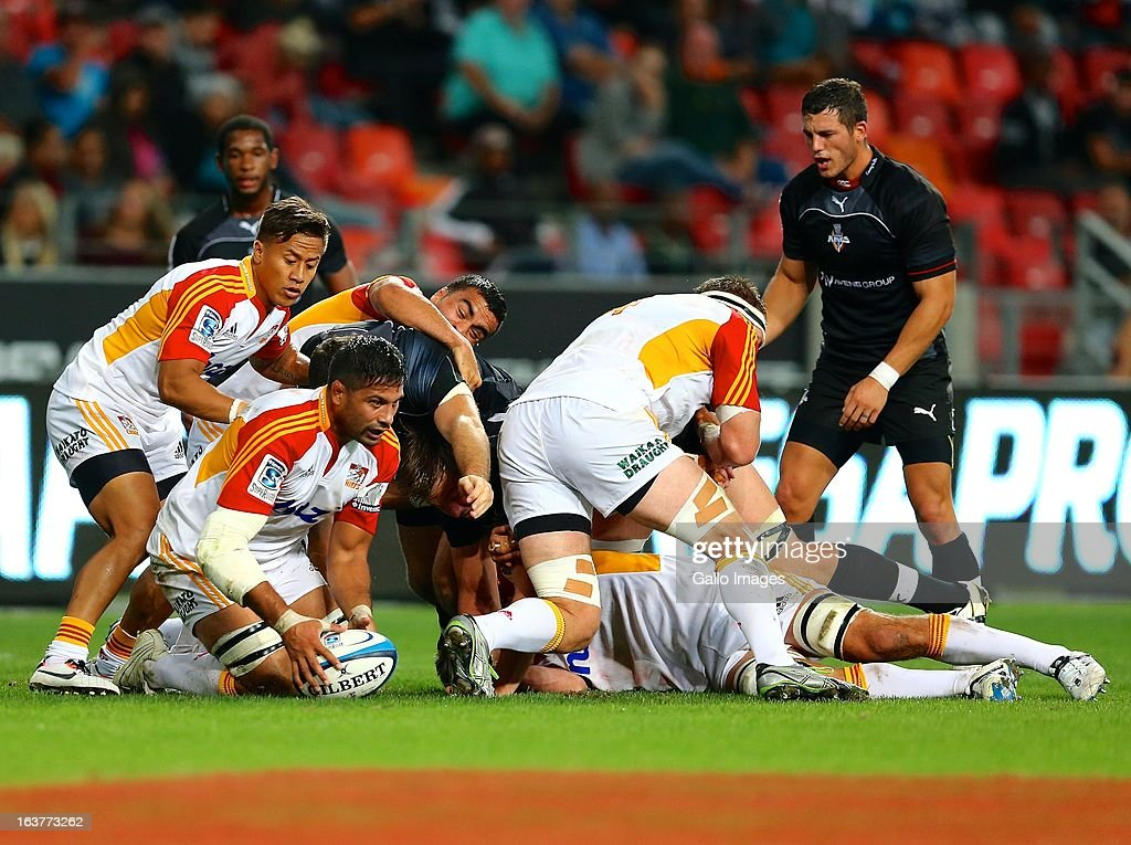 Ball carrier Ross Filipo of the Chiefs during the Super Rugby match between Southern Kings and Chiefs from Nelson Mandela Bay Stadium on March 15, 2013 in Port Elizabeth, South Africa