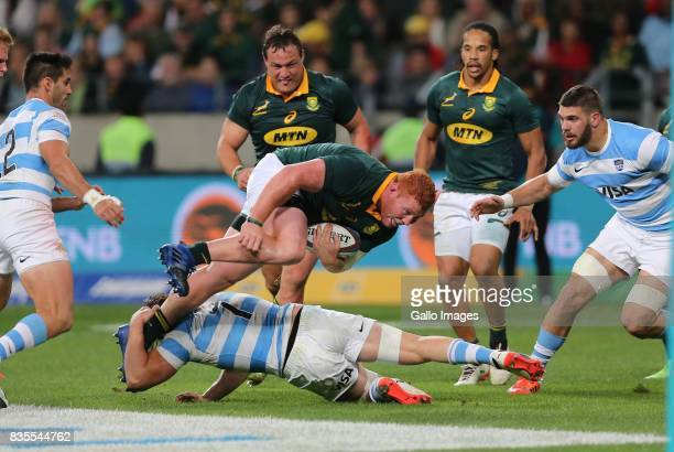 Ball carrier Steven Kitshoff of South Africa during the Rugby Championship match between South Africa and Argentina at Nelson Mandela Bay Stadium on...
