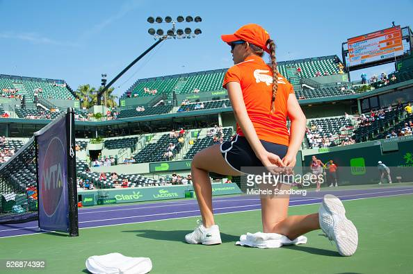 Ball Girl during the Madison Keys Roberta Vinci Day 7 of the Miami Open match presented by Itau at Crandon Park Tennis Center on March 27 2016 in Key...