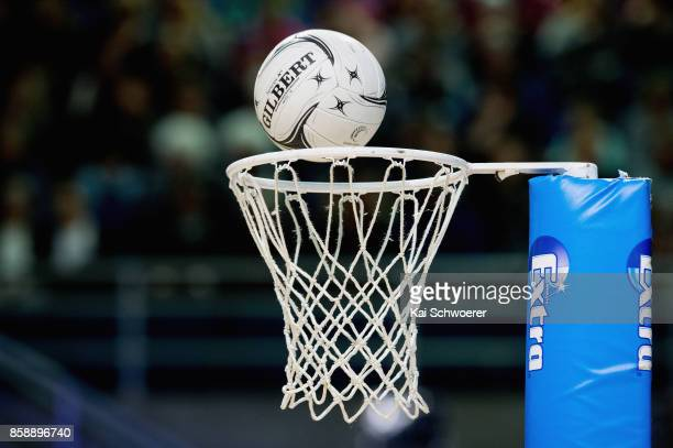 A ball goes into a basket during the 2017 Constellation Cup match between Australia Diamonds and the New Zealand Silver Ferns at Horncastle Arena on...