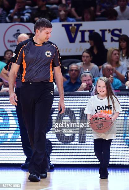 Ball handover during the round seven NBL match between Adelaide 36ers and the Sydney Kings at Titanium Security Arena on November 18 2017 in Adelaide...