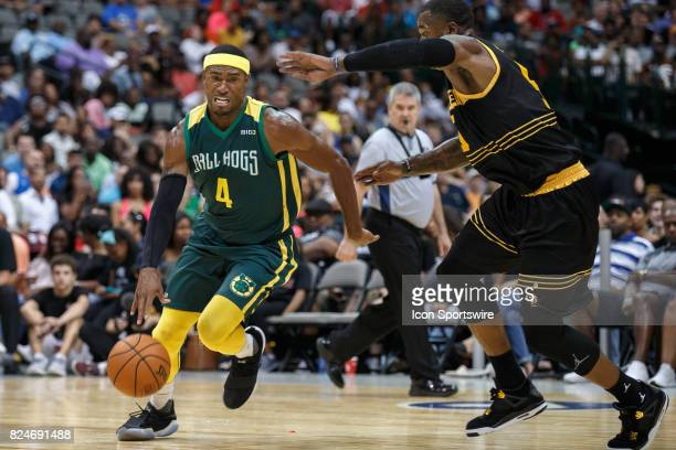 Ball Hogs guard Derrick Byars drives as Killer 3s guard Stephen Jackson defends during the Big3 basketball game between the Ball Hogs and Killer 3s...