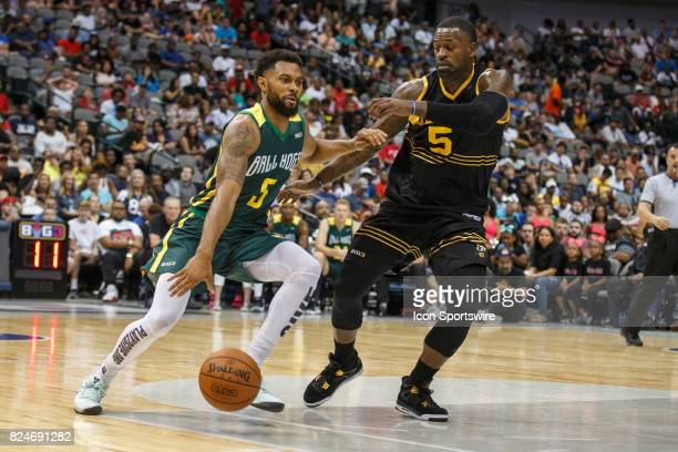 Ball Hogs guard Xavier Silas drives to the basket as Killer 3s guard Stephen Jackson defends during the Big3 basketball game between the Ball Hogs...
