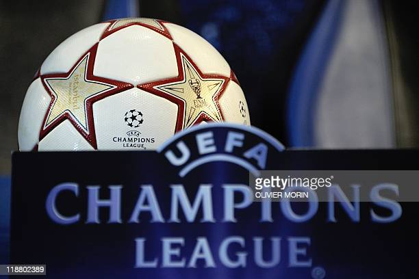 A ball is displayed during a press conference by Inter Milan on the eve of their quarterfinal Champions League match against Schalke 04 on April 4...