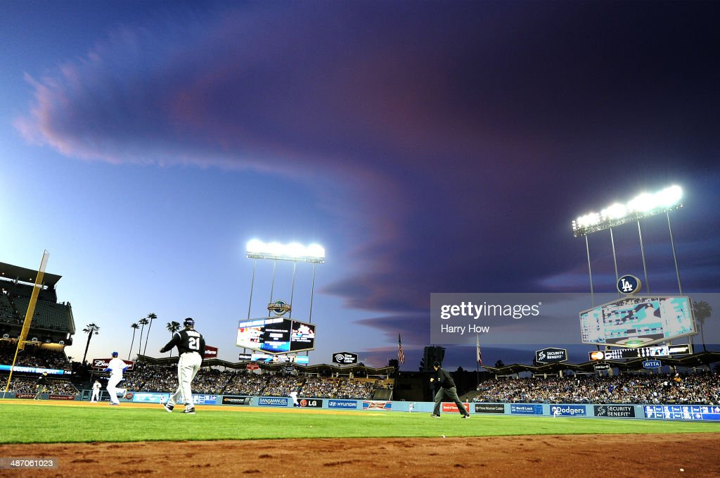 A ball is hit into centerfield during the game between the Colorado Rockies and the Los Angeles Dodgers at Dodger Stadium on April 26, 2014 in Los Angeles, California.