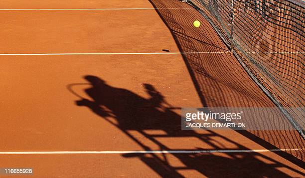 A ball is seen during the French Open tennis championship at the Roland Garros stadium on May 31 in Paris AFP PHOTO / JACQUES DEMARTHON