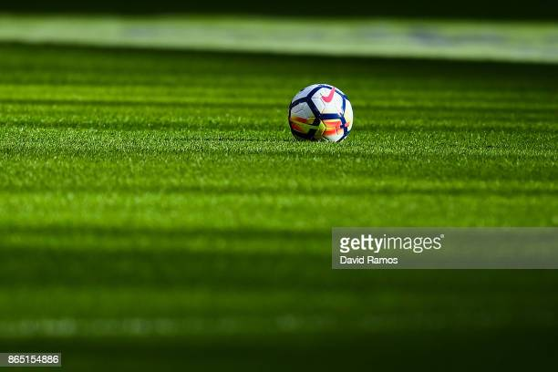 A ball is seen on the pitch prior to the Premier League match between Tottenham Hotspur and Liverpool at Wembley Stadium on October 22 2017 in London...