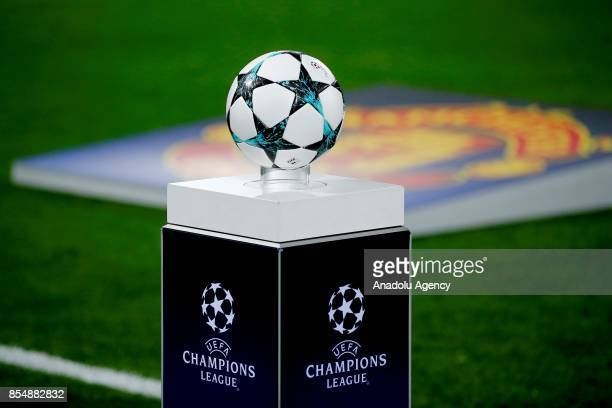 A ball is seen on the stand before the UEFA Champions League match between CSKA Moscow and Manchester United at VEB Arena in Moscow on September 27...