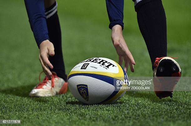 A ball keeper catches the ball during the French Union Rugby match ASM Clermont vs FC Grenoble at the Michelin stadium in ClermontFerrand central...