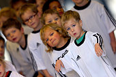 Ball kids are seen in the player's tunnel prior to the Women's International Friendly match between U20 Germany and U20 Sweden at Auestadion on...