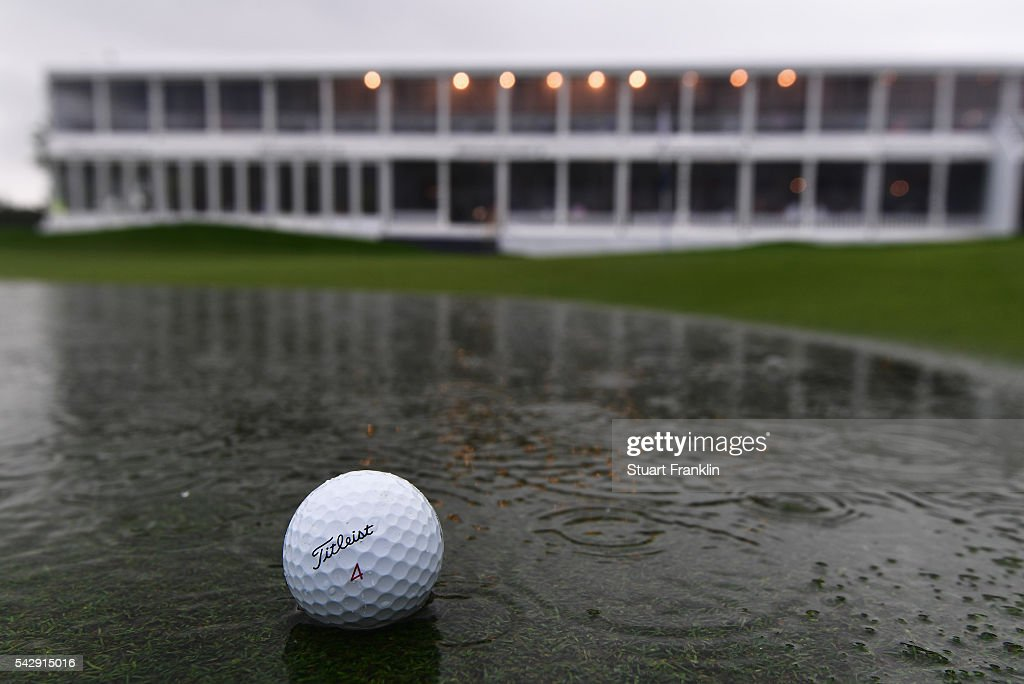 A ball lays in the water on the flooded 18th green during the suspention of play during the third round of the BMW International Open at Gut Larchenhof on June 25, 2016 in Cologne, Germany.