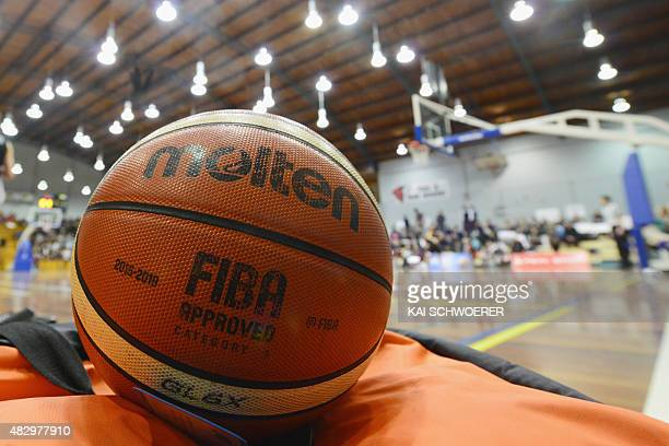 A ball lies close to the court during the international basketball match between the New Zealand Tall Ferns and Japan on August 5 2015 at Cowles...