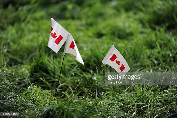 Ball markers in the rough during round two of the RBC Canadian Open at the Shaughnessy Golf Country Club on July 22 2011 in Vancouver Canada