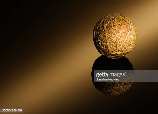 Ball of rubber band, close-up