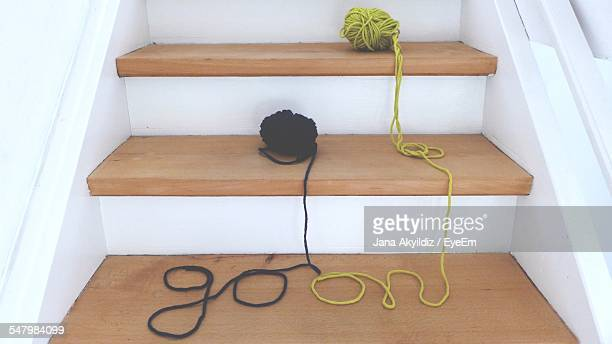 Ball Of Wools On Steps
