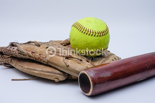 Ball, old glove, and wood bat