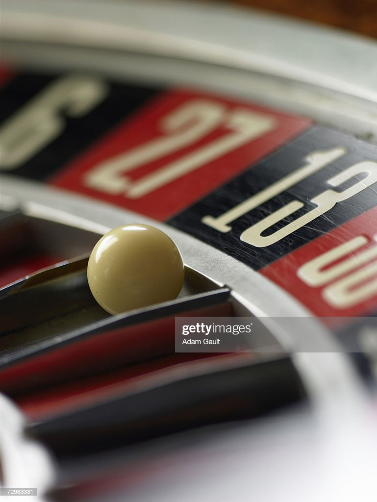 Ball on Roulette wheel , close-up