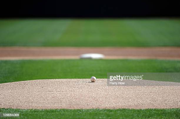 Ball on the mound before the game between the Chicago White Sox and the Los Angeles Dodgers during spring training at Camelback Ranch on February 28...