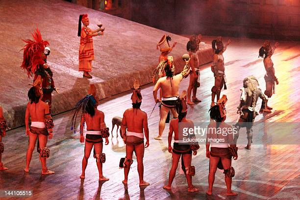 Ball Players In Mayan Reenactment At Xcaret Mexico