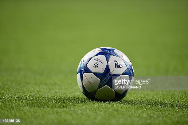 A ball rests on the field before the UEFA Champions League football match Real Madrid CF vs Paris SaintGermain at the Santiago Bernabeu stadium in...
