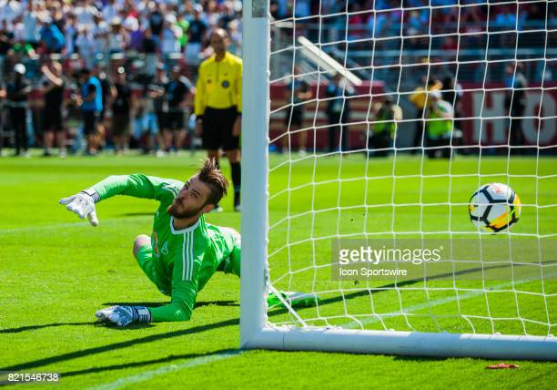 A ball sails past Manchester United goalkeeper David De Gea on kick off to decide the winner Manchester United would win during the International...