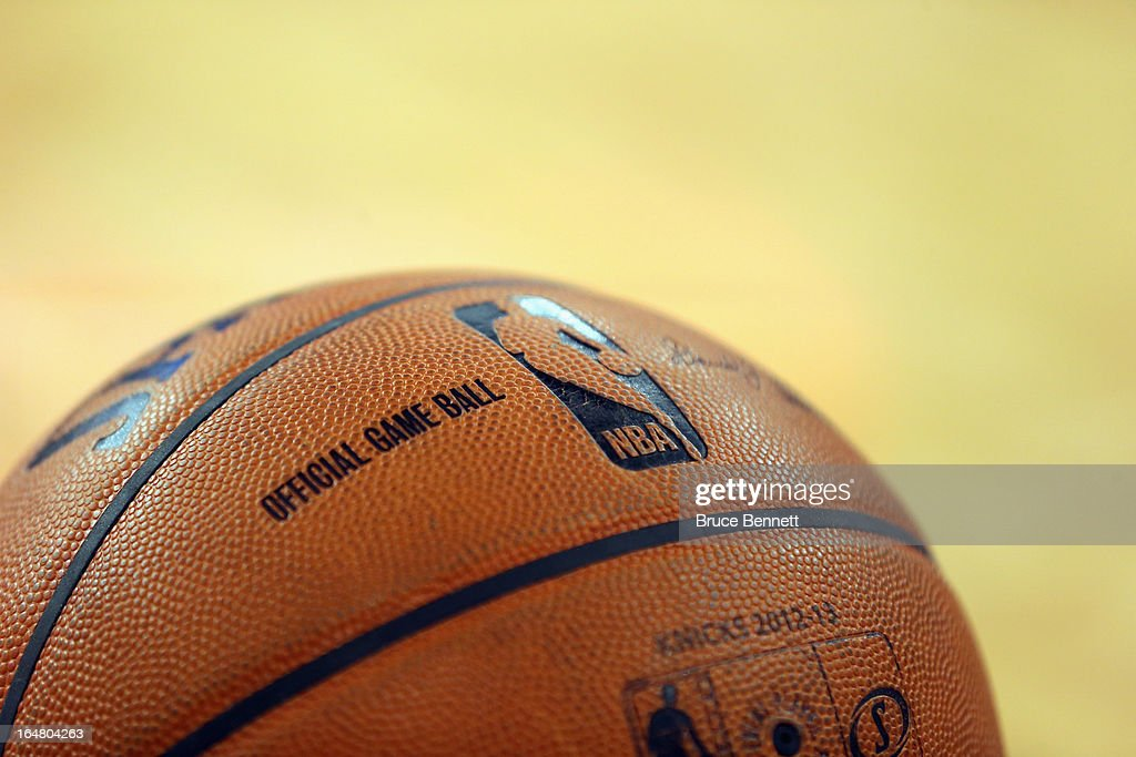 A ball sits courtside during the game between the New York Knicks and the Memphis Grizzlies at Madison Square Garden on March 27, 2013 in New York City. The Knicks defeated the Grizzlies 108-101.