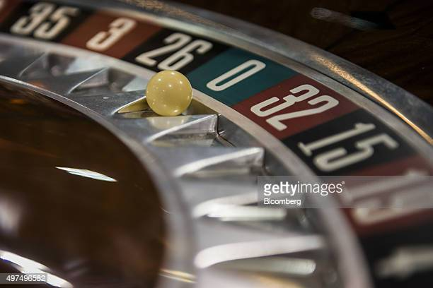 A ball sits on a roulette wheel at the Macao Gaming Show in Macau China on Tuesday Nov 17 2015 The show runs until Nov 19 Photographer Xaume...