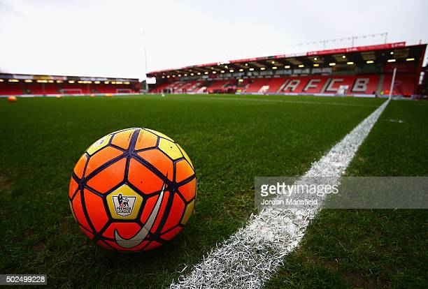A ball sits on the pitch prior to the Barclays Premier League match between AFC Bournemouth and Crystal Palace at Vitality Stadium on December 26...