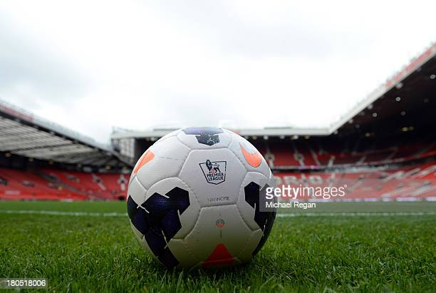 A ball sits on the turf prior to the Barclays Premier League match between Manchester United and Crystal Palace at Old Trafford on September 14 2013...