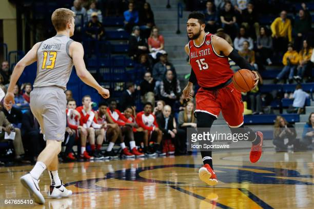Ball State Cardinals forward Franko House brings the ball upcourt during a regular season basketball game between the Ball State Cardinals and the...