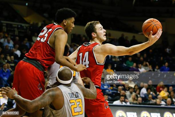 Ball State Cardinals forward Kyle Mallers grabs a rebound during a regular season basketball game between the Ball State Cardinals and the Toledo...