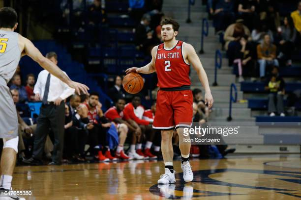 Ball State Cardinals guard Tayler Persons brings the ball upcourt during a regular season basketball game between the Ball State Cardinals and the...