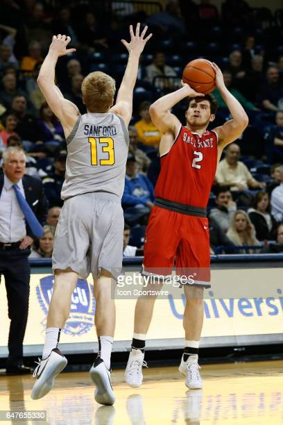 Ball State Cardinals guard Tayler Persons shoots a jump shot during a regular season basketball game between the Ball State Cardinals and the Toledo...