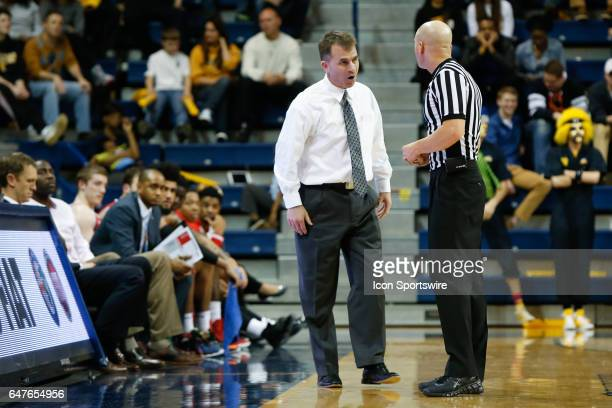 Ball State Cardinals head coach James Whitford talks with an official during a regular season basketball game between the Ball State Cardinals and...