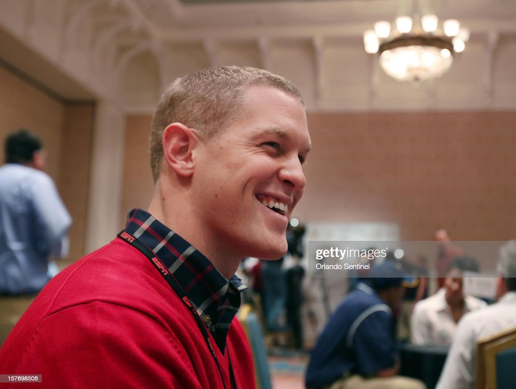 Ball State punter Scott Kovanda is interviewed during a media availability event for the ESPN College Football Awards at Disney's Boardwalk Inn on Wednesday, December 5, 2012, in Orlando, Florida.