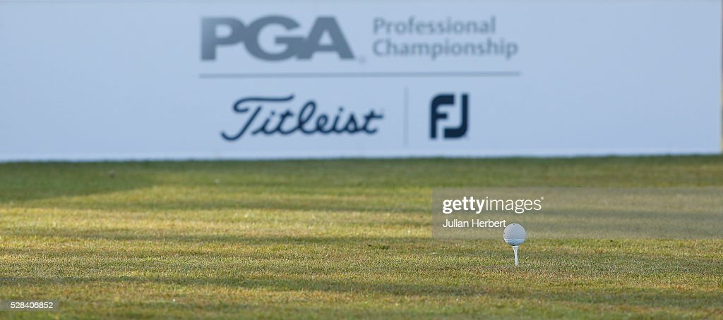 A ball waits to be driven on the 1st tee during the PGA Professional Championship - West Qualifier at Burnham And Berrow Golf Club Club on May 5, 2016, in Burnham-On-Sea, England.