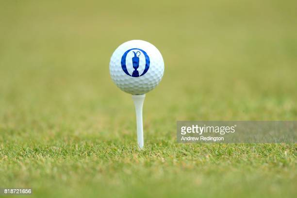 A ball with a claret jug emblem sits on a tee during a practice round prior to the 146th Open Championship at Royal Birkdale on July 19 2017 in...