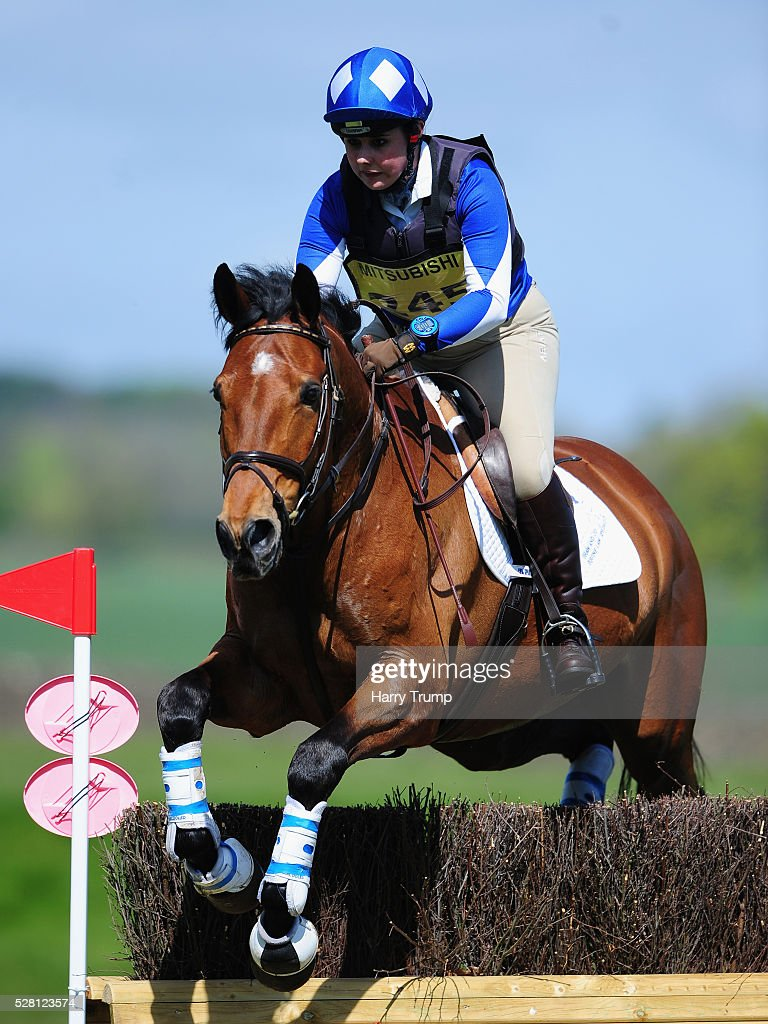 Balladeer Maestro ridden by <a gi-track='captionPersonalityLinkClicked' href=/galleries/search?phrase=Jade+Thompson&family=editorial&specificpeople=8316630 ng-click='$event.stopPropagation()'>Jade Thompson</a> jumps a fence during the Mitsubishi Motors Cup Cross County Race during Day One of the Badminton Horse Trials on May 4, 2016 in Badminton, Untied Kindom.