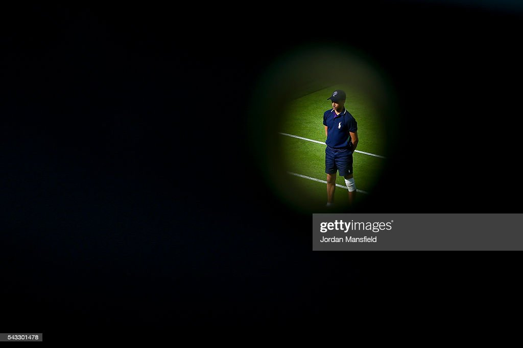 A ball-boy is seen on court 8 during day one of the Wimbledon Lawn Tennis Championships at the All England Lawn Tennis and Croquet Club on June 26, 2016 in London, England.
