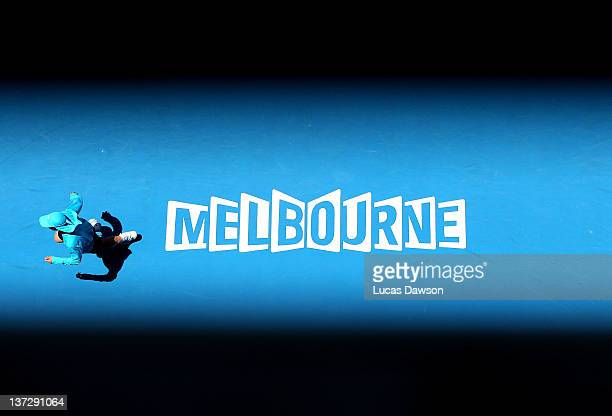 A ballboy on court during a match between Michaella Krajicek of the Netherlands and Ana Ivanovic of Serbia during day four of the 2012 Australian...