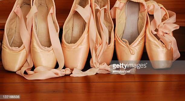 Balleriana: Pink Satin Classical Ballet Pointe Shoes in a Row