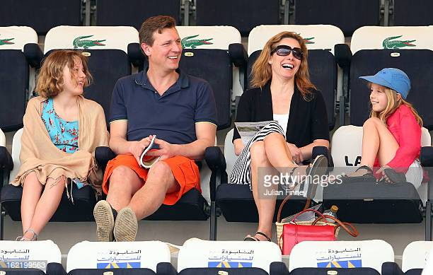 Ballerina Darcey Bussell and family attend play during day three of the WTA Dubai Duty Free Tennis Championship on February 20 2013 in Dubai United...