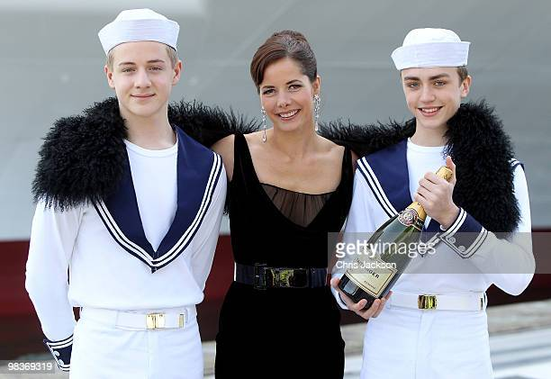 Ballerina Darcey Bussell poses with members of the Royal Ballet School dressed as sailors as she is name as 'Godmother' to PO's latest Cruise Ship...