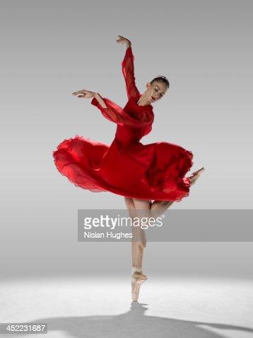 Ballerina in contemporary ballet position