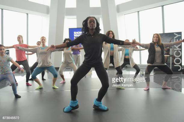 Ballerina Michaela DePrince teaches a ballet class at the Jockey 'Show'Em What's Underneath Show'Em Your Jockey' Event in NYC at One World...