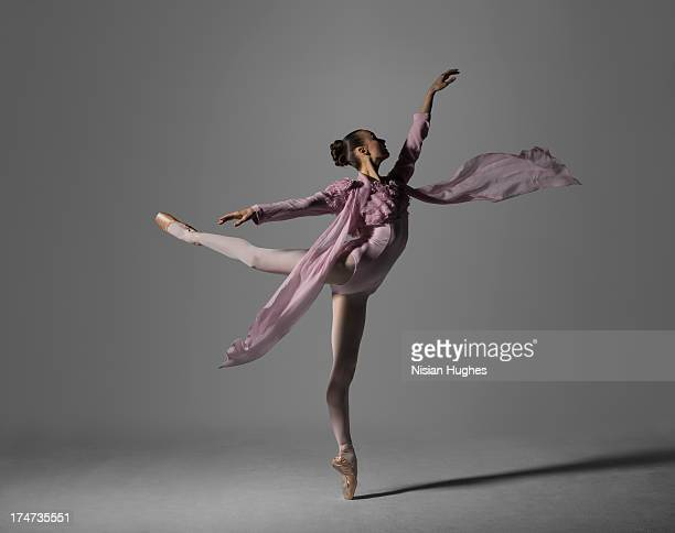 Ballerina performing arabesque on pointe