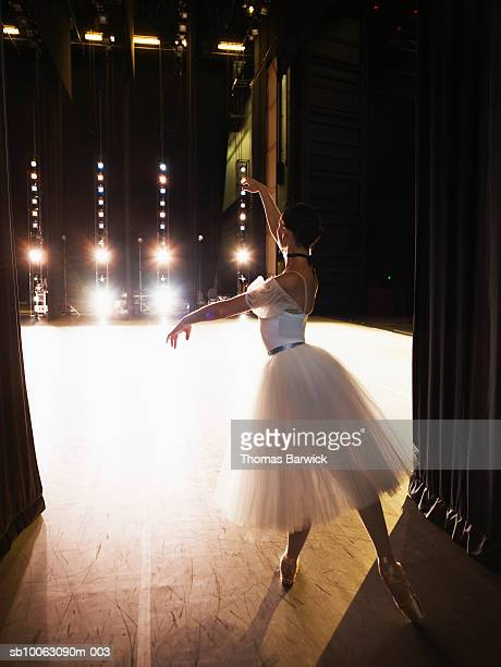 Ballerina preparing to enter stage, rear view